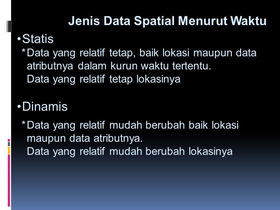 •Statis Jenis Data Spatial Menurut Waktu •Dinamis  Data yang relatif tetap, baik lokasi maupun data atributnya dalam kurun waktu tertentu. Data yang