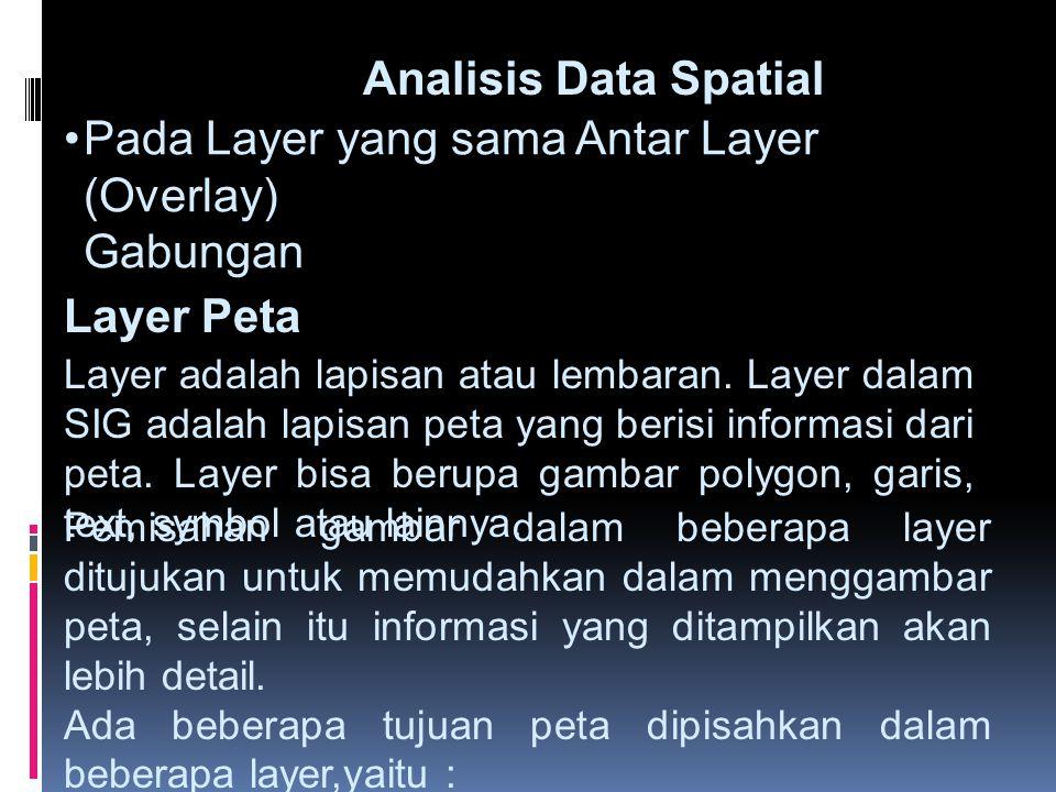 •Pada Layer yang sama Antar Layer (Overlay) Gabungan Analisis Data Spatial Layer Peta Layer adalah lapisan atau lembaran. Layer dalam SIG adalah lapis