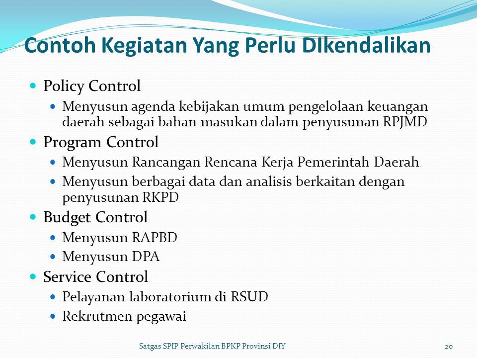 Contoh Kegiatan Yang Perlu DIkendalikan  Policy Control  Menyusun agenda kebijakan umum pengelolaan keuangan daerah sebagai bahan masukan dalam peny