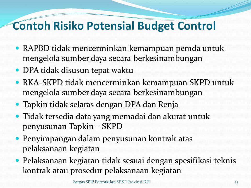 Contoh Risiko Potensial Budget Control  RAPBD tidak mencerminkan kemampuan pemda untuk mengelola sumber daya secara berkesinambungan  DPA tidak disu