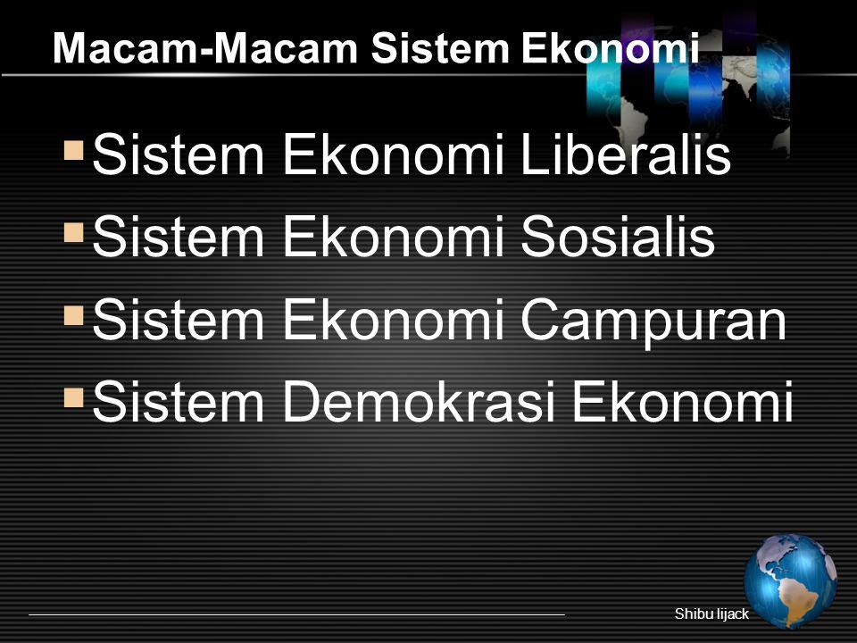 Macam-Macam Sistem Ekonomi  Sistem Ekonomi Liberalis  Sistem Ekonomi Sosialis  Sistem Ekonomi Campuran  Sistem Demokrasi Ekonomi Shibu lijack