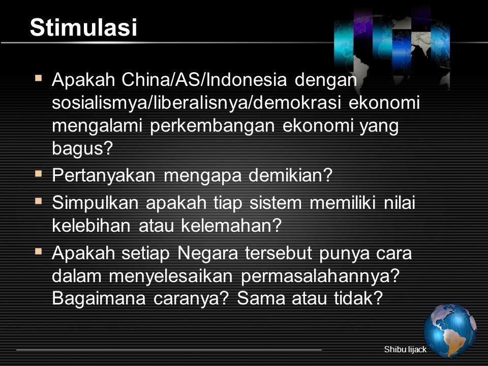 Stimulasi  Apakah China/AS/Indonesia dengan sosialismya/liberalisnya/demokrasi ekonomi mengalami perkembangan ekonomi yang bagus?  Pertanyakan menga