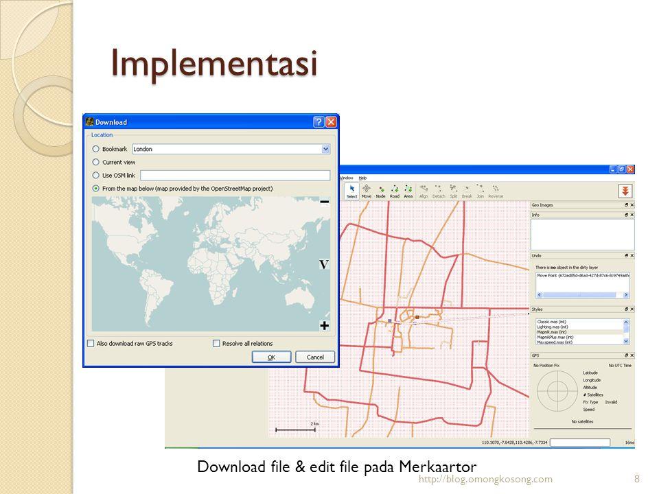 Implementasi Convert file shp ke pgsql dengan shp2pgsql (ada dalam postgis)  Buat database dahulu  Lakukan convert  Syntax: shp2pgsql [ ] [ ] Contoh: shp2pgsql -c c:\geoserver\indonesia\indonesia indotable > c:\geoserver\indonesia\indonesia.sql  Import tabel ke dalam Database psgl -U postgres -d shp -f c:\geoserver\indonesia\indonesia.sql http://blog.omongkosong.com9
