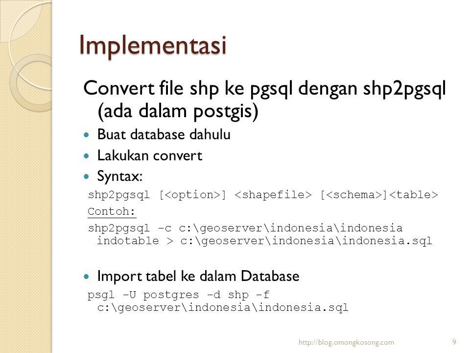 Implementasi Convert file osm ke pgsql menggunakan osm2pgsql (download dahulu):  Buat database terlebih dahulu  Import file 900913.sql (Ter-include bersama osm2pgsql) ke dalam database  Melakukan convert  Syntax: osm2pgsql -E EPSG:900913 -U postgres -W -d gis C:\geo\josm\jogja.osm http://blog.omongkosong.com10