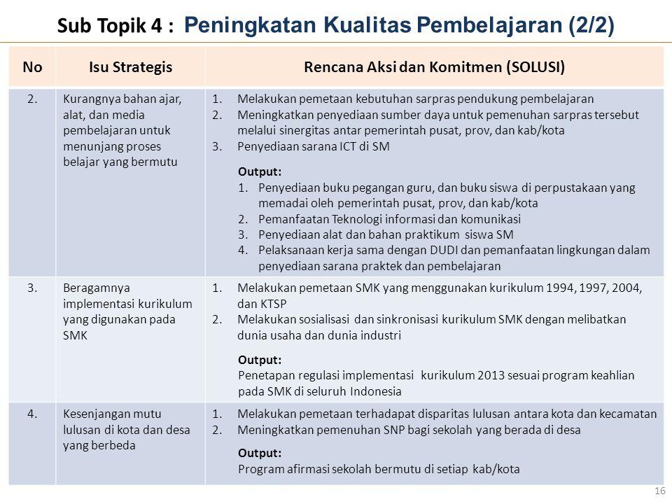 Sub Topik 4 : Peningkatan Kualitas Pembelajaran (2/2) 16 NoNoIsu StrategisRencana Aksi dan Komitmen (SOLUSI) 2.Kurangnya bahan ajar, alat, dan media p