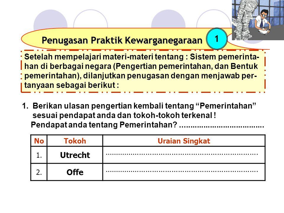 Setelah mempelajari materi-materi tentang : Sistem pemerinta- han di berbagai negara (Pengertian pemerintahan, dan Bentuk pemerintahan), dilanjutkan penugasan dengan menjawab per- tanyaan sebagai berikut : Penugasan Praktik Kewarganegaraan 1 NoTokohUraian Singkat 1.