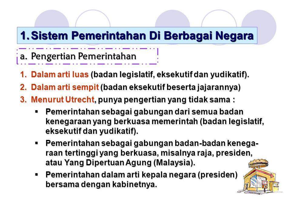 1.Sistem Pemerintahan Di Berbagai Negara a.Pengertian Pemerintahan 1.Dalam arti luas (badan legislatif, eksekutif dan yudikatif).