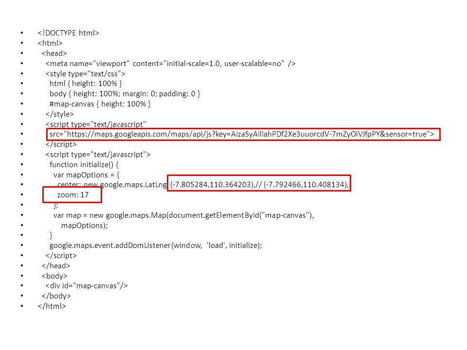 • • html { height: 100% } • body { height: 100%; margin: 0; padding: 0 } • #map-canvas { height: 100% } • • <script type= text/javascript • src= https://maps.googleapis.com/maps/api/js?key=AIzaSyAIlIahPDf2Xe3uuorcdV-7mZyOiVJfpPY&sensor=true > • • function initialize() { • var mapOptions = { • center: new google.maps.LatLng (-7.805284,110.364203),// (-7.792466,110.408134), • zoom: 17 • }; • var map = new google.maps.Map(document.getElementById( map-canvas ), • mapOptions); • } • google.maps.event.addDomListener(window, load , initialize); •