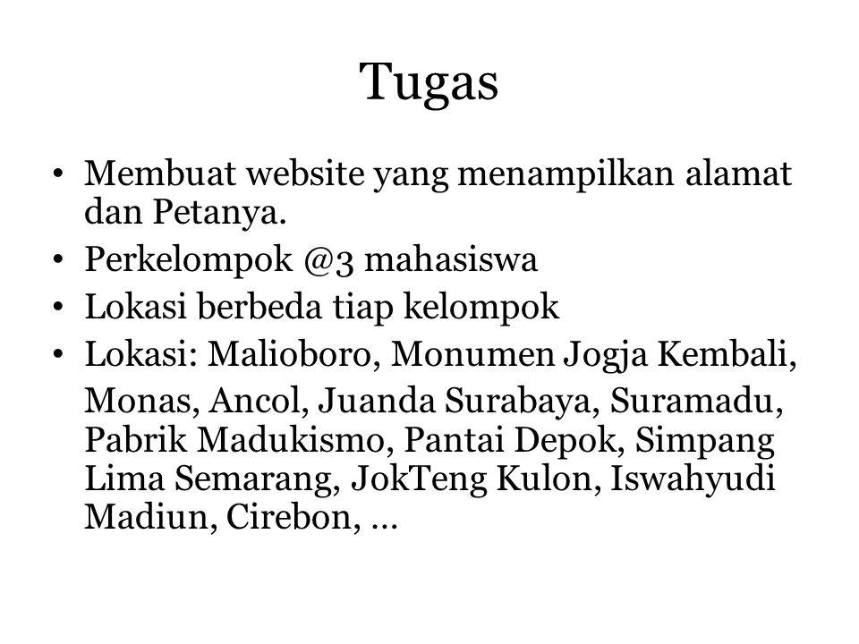 Tugas • Membuat website yang menampilkan alamat dan Petanya. • Perkelompok @3 mahasiswa • Lokasi berbeda tiap kelompok • Lokasi: Malioboro, Monumen Jo