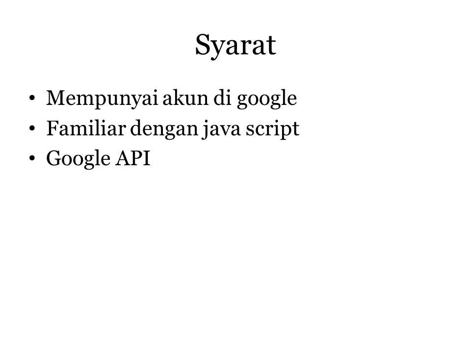 Syarat • Mempunyai akun di google • Familiar dengan java script • Google API