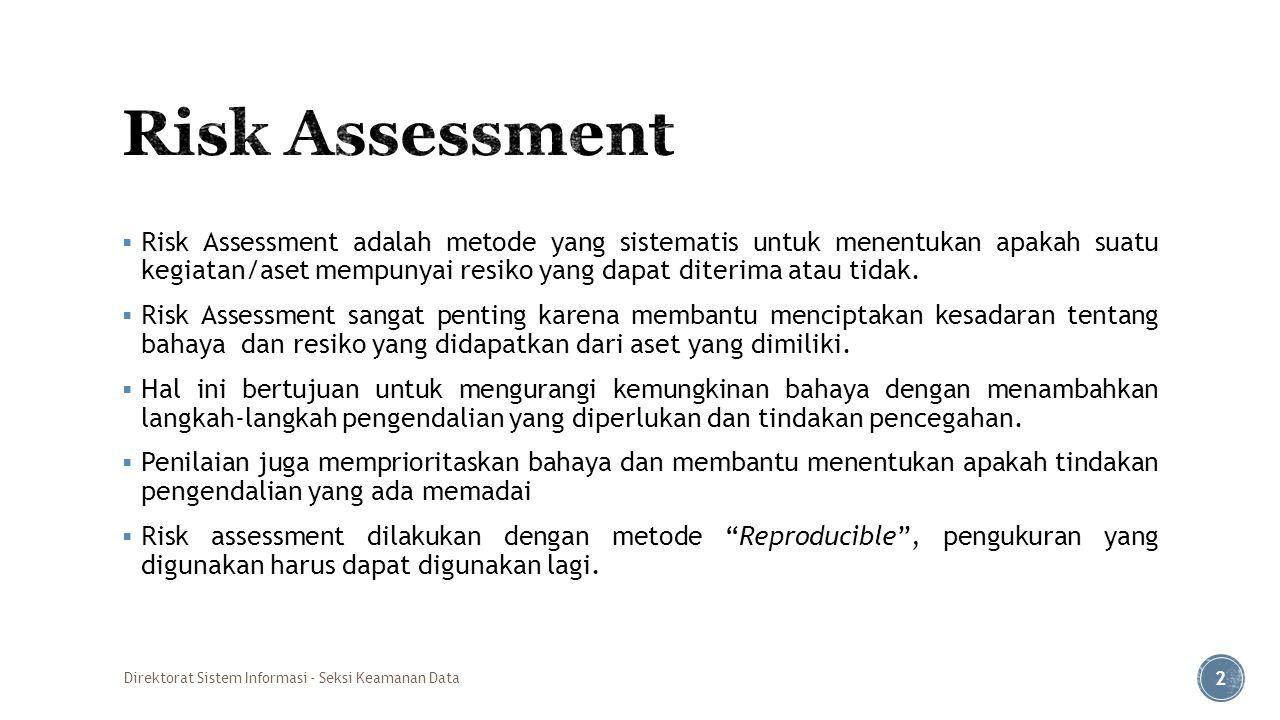  Risk Assessment adalah metode yang sistematis untuk menentukan apakah suatu kegiatan/aset mempunyai resiko yang dapat diterima atau tidak.  Risk As
