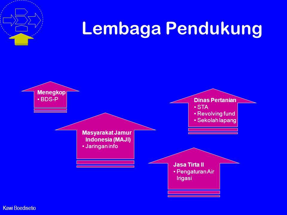 Kawi Boedisetio Lembaga Pendukung Masyarakat Jamur Indonesia (MAJI) • Jaringan info Dinas Pertanian• STA • Revolving fund • Sekolah lapang Menegkop• B