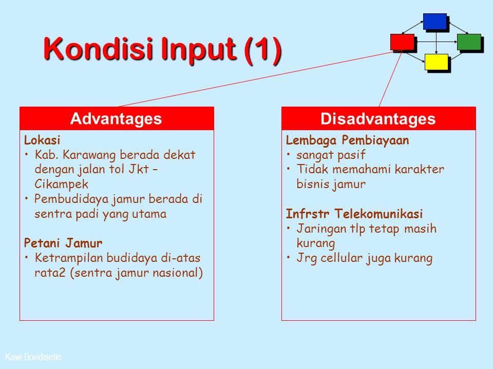 Kawi Boedisetio Kondisi Input (1) Advantages Lokasi •Kab. Karawang berada dekat dengan jalan tol Jkt – Cikampek •Pembudidaya jamur berada di sentra pa