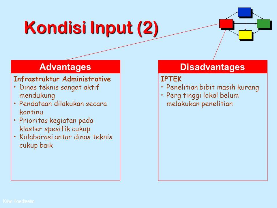 Kawi Boedisetio Kondisi Input (2) Advantages Infrastruktur Administrative •Dinas teknis sangat aktif mendukung •Pendataan dilakukan secara kontinu •Pr