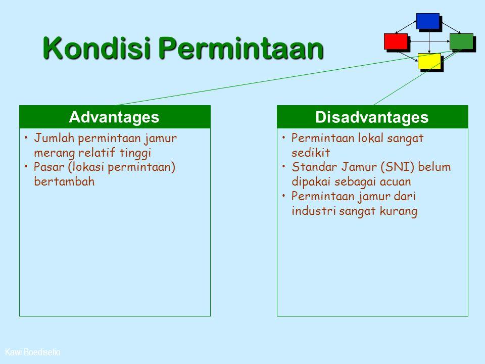 Kawi Boedisetio Kondisi Permintaan Advantages •Jumlah permintaan jamur merang relatif tinggi •Pasar (lokasi permintaan) bertambah Disadvantages •Permi