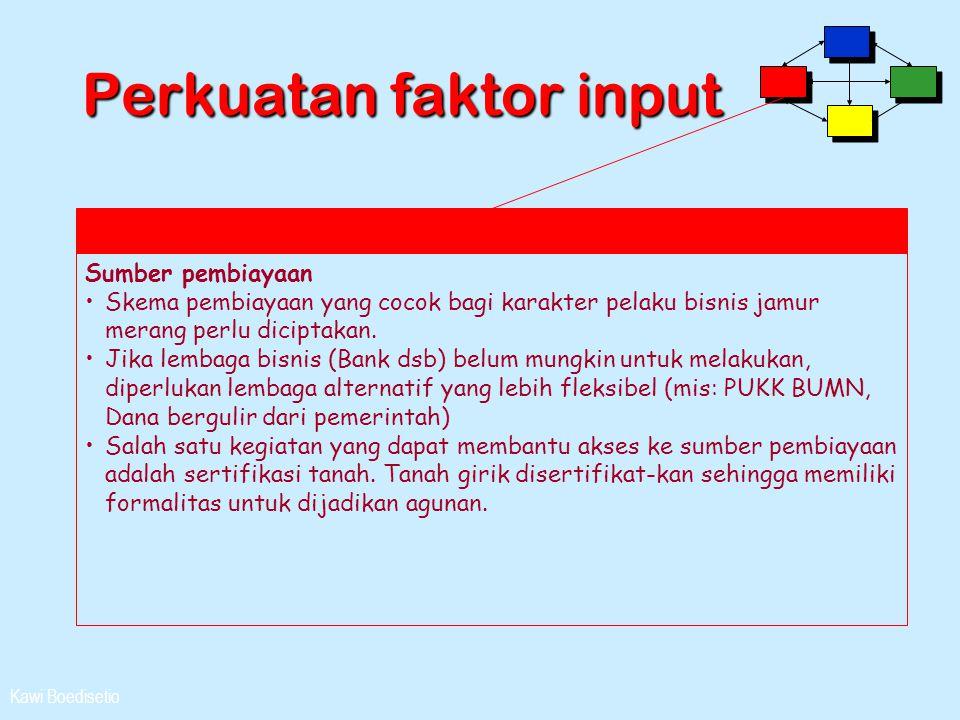 Kawi Boedisetio Perkuatan faktor input Sumber pembiayaan •Skema pembiayaan yang cocok bagi karakter pelaku bisnis jamur merang perlu diciptakan. •Jika