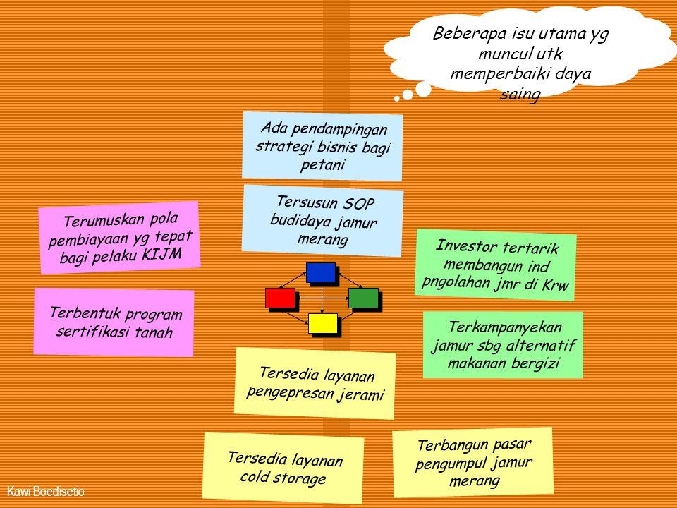 Kawi Boedisetio Terumuskan pola pembiayaan yg tepat bagi pelaku KIJM Terbentuk program sertifikasi tanah Tersedia layanan pengepresan jerami Investor