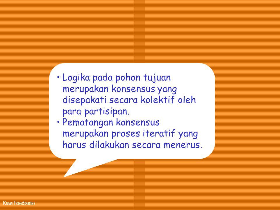 Kawi Boedisetio •Logika pada pohon tujuan merupakan konsensus yang disepakati secara kolektif oleh para partisipan. •Pematangan konsensus merupakan pr