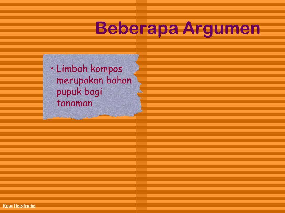 Kawi Boedisetio Beberapa Argumen •Limbah kompos merupakan bahan pupuk bagi tanaman