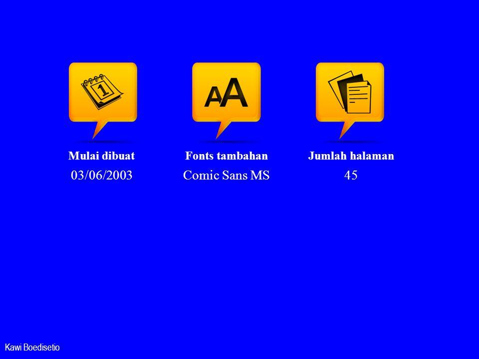 Mulai dibuat 03/06/2003 Fonts tambahan Comic Sans MS Jumlah halaman 45