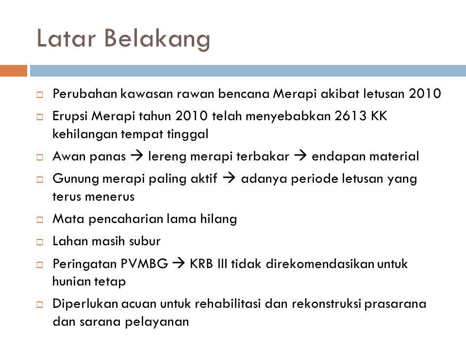 Latar Belakang  Perubahan kawasan rawan bencana Merapi akibat letusan 2010  Erupsi Merapi tahun 2010 telah menyebabkan 2613 KK kehilangan tempat tin