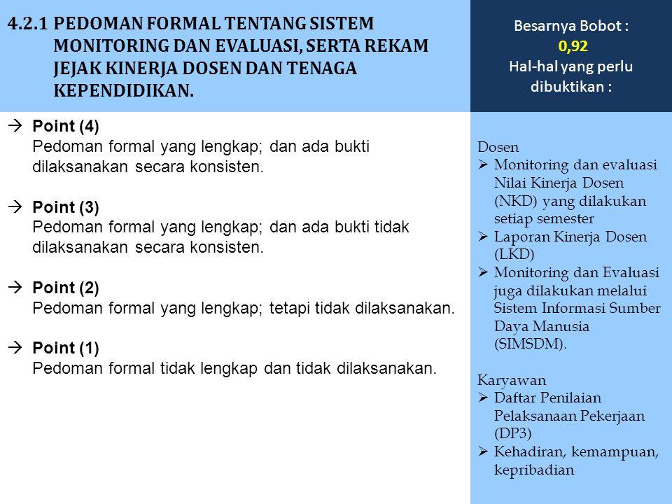  Point (4) Pedoman formal yang lengkap; dan ada bukti dilaksanakan secara konsisten.  Point (3) Pedoman formal yang lengkap; dan ada bukti tidak dil