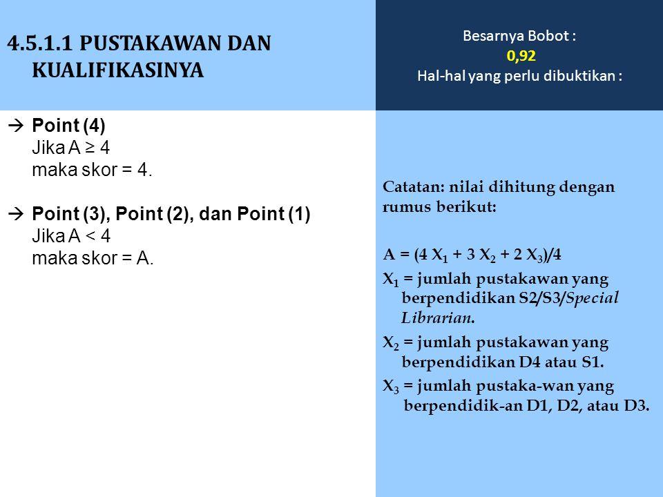  Point (4) Jika A ≥ 4 maka skor = 4.  Point (3), Point (2), dan Point (1) Jika A < 4 maka skor = A. 4.5.1.1 PUSTAKAWAN DAN KUALIFIKASINYA Catatan: n