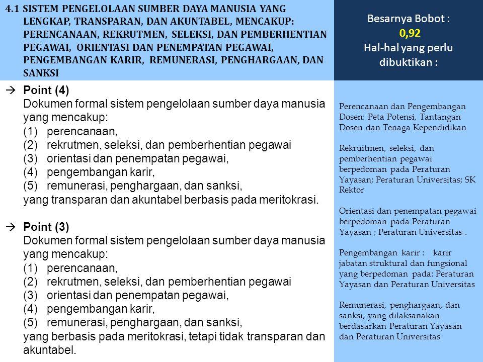  Point (4) Dokumen formal sistem pengelolaan sumber daya manusia yang mencakup: (1) perencanaan, (2) rekrutmen, seleksi, dan pemberhentian pegawai (3