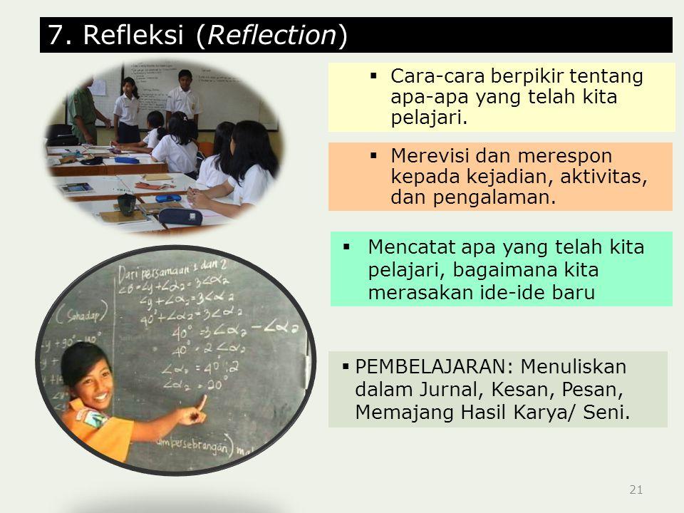 21 7.Refleksi (Reflection)  Cara-cara berpikir tentang apa-apa yang telah kita pelajari.