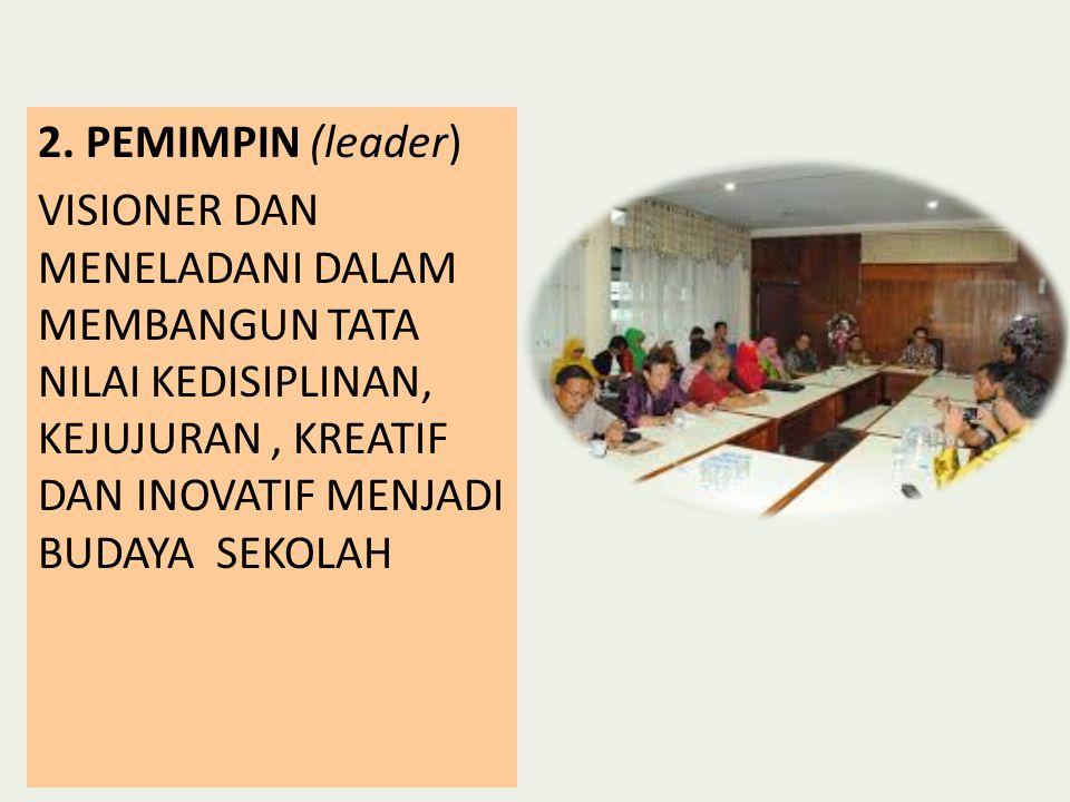 2. PEMIMPIN (leader) VISIONER DAN MENELADANI DALAM MEMBANGUN TATA NILAI KEDISIPLINAN, KEJUJURAN, KREATIF DAN INOVATIF MENJADI BUDAYA SEKOLAH