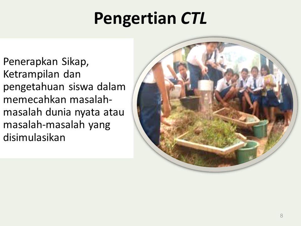 Pengertian CTL 8 Penerapkan Sikap, Ketrampilan dan pengetahuan siswa dalam memecahkan masalah- masalah dunia nyata atau masalah-masalah yang disimulasikan