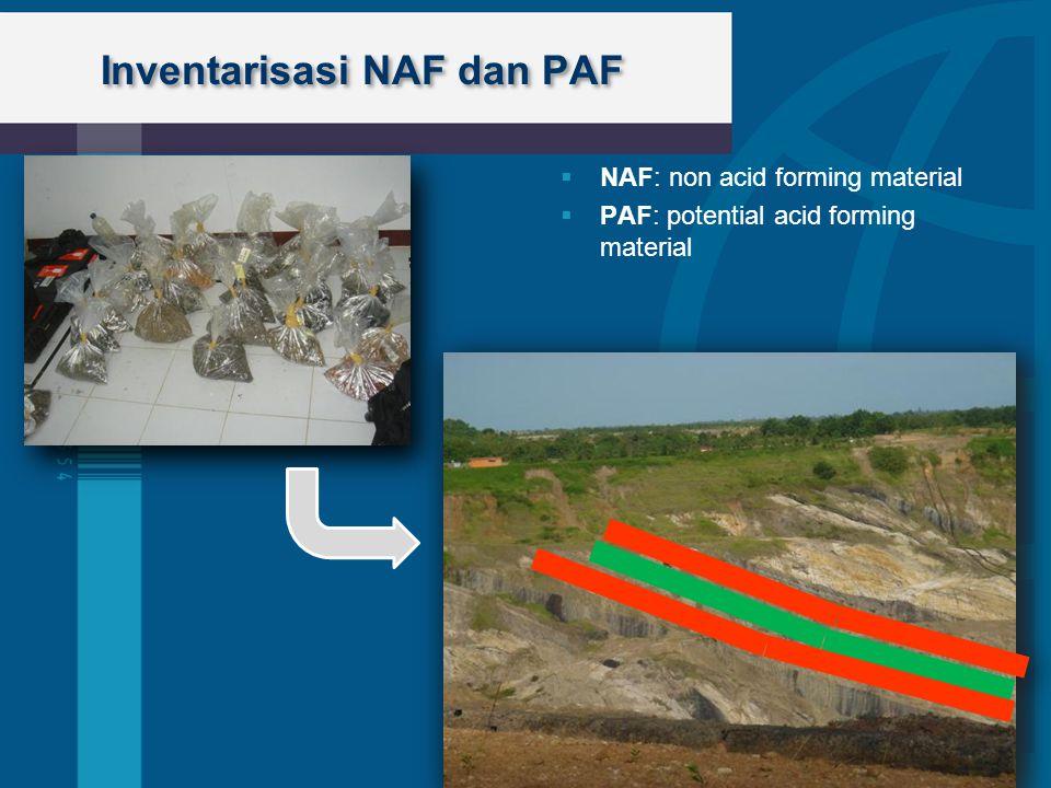 Inventarisasi NAF dan PAF  NAF: non acid forming material  PAF: potential acid forming material