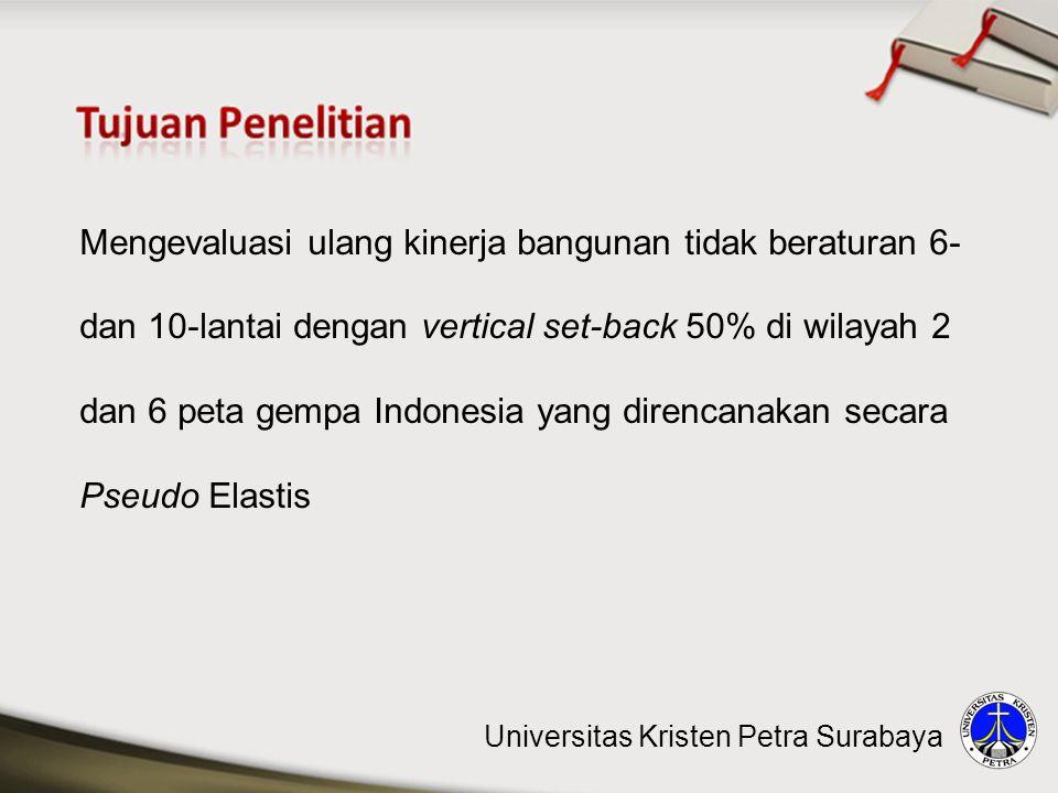 Mengevaluasi ulang kinerja bangunan tidak beraturan 6- dan 10-lantai dengan vertical set-back 50% di wilayah 2 dan 6 peta gempa Indonesia yang direnca