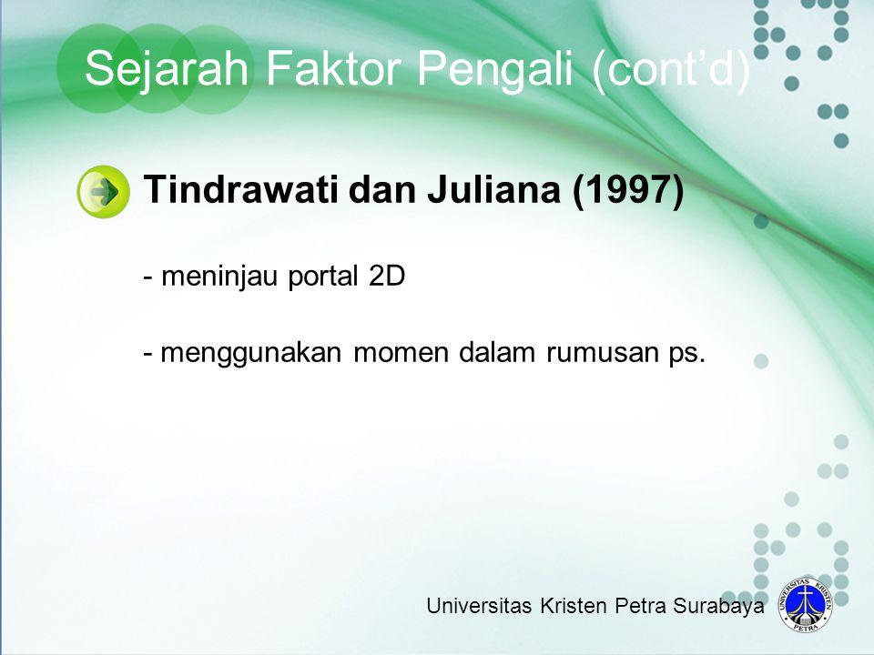 Tindrawati dan Juliana (1997) - meninjau portal 2D - menggunakan momen dalam rumusan ps. Sejarah Faktor Pengali (cont'd) Universitas Kristen Petra Sur