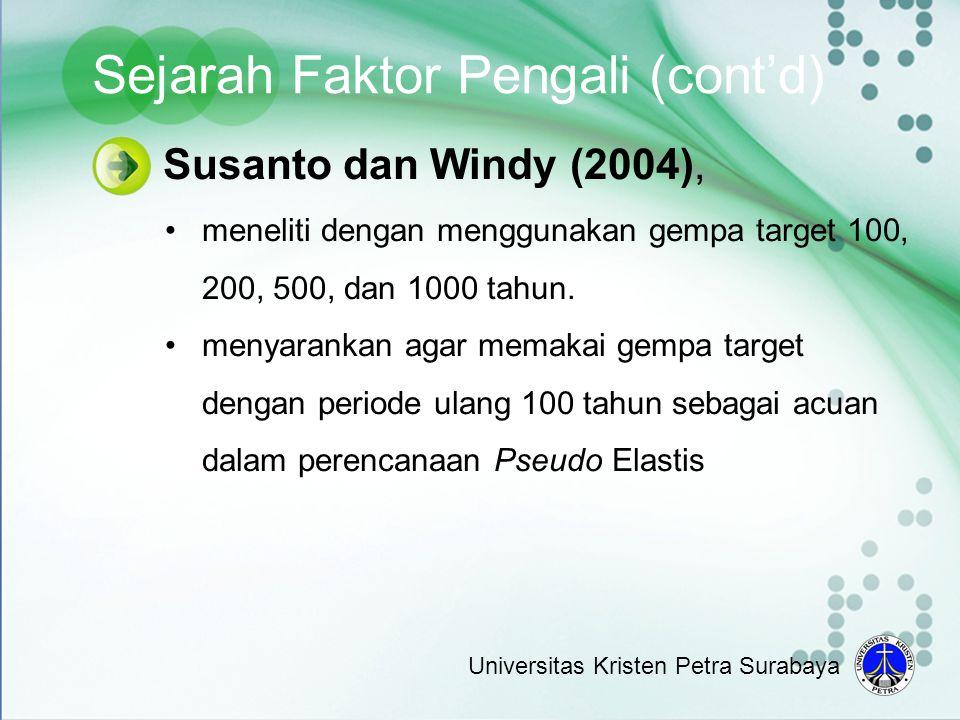 Susanto dan Windy (2004), •meneliti dengan menggunakan gempa target 100, 200, 500, dan 1000 tahun. •menyarankan agar memakai gempa target dengan perio