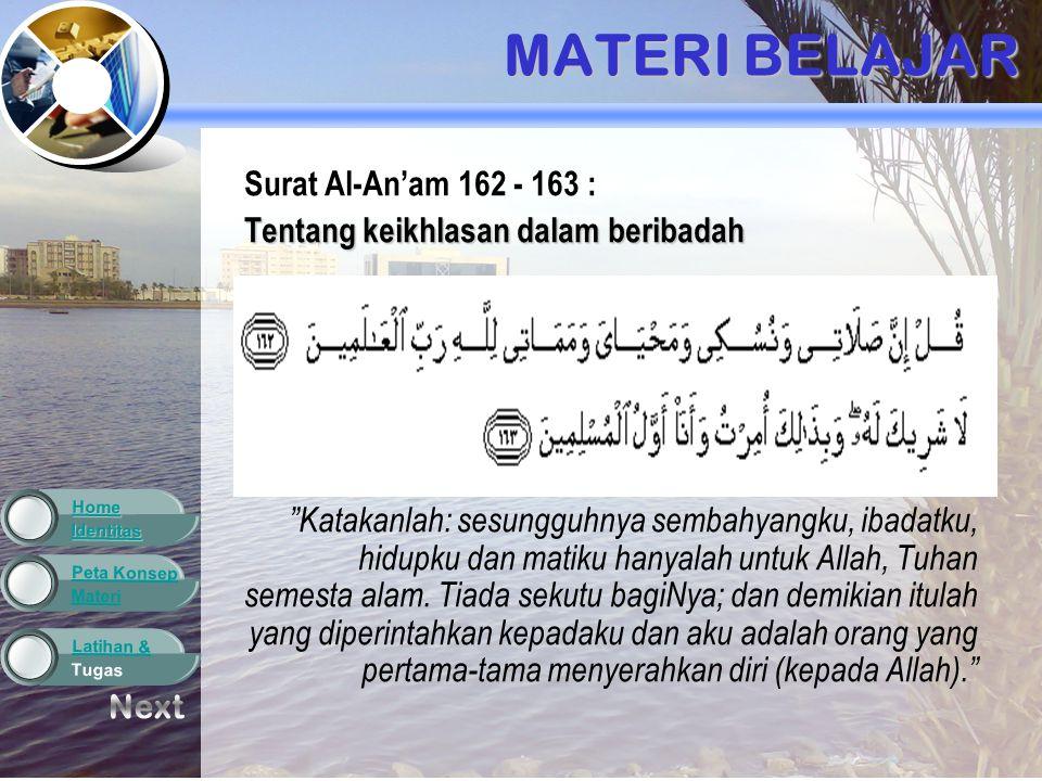 Materi Peta Konsep Tugas Latihan & Identitas Home LATIHAN DAN TUGAS 5.