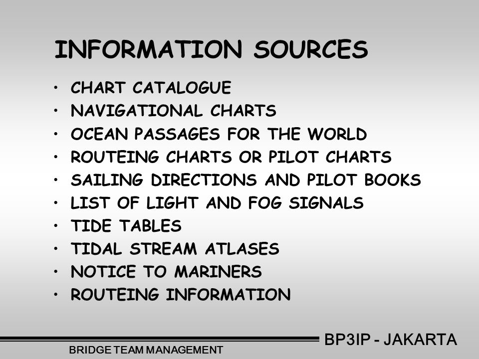 INFORMATION SOURCES •CHART CATALOGUE •NAVIGATIONAL CHARTS •OCEAN PASSAGES FOR THE WORLD •ROUTEING CHARTS OR PILOT CHARTS •SAILING DIRECTIONS AND PILOT BOOKS •LIST OF LIGHT AND FOG SIGNALS •TIDE TABLES •TIDAL STREAM ATLASES •NOTICE TO MARINERS •ROUTEING INFORMATION BP3IP - JAKARTA BRIDGE TEAM MANAGEMENT