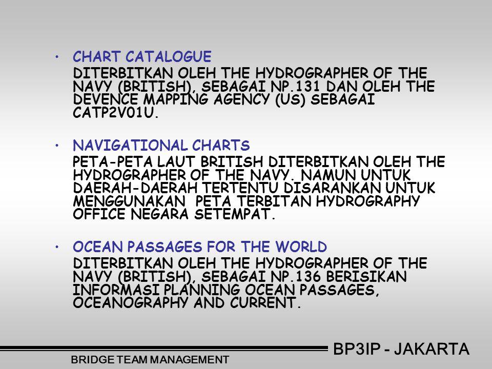 •C•CHART CATALOGUE DITERBITKAN OLEH THE HYDROGRAPHER OF THE NAVY (BRITISH), SEBAGAI NP.131 DAN OLEH THE DEVENCE MAPPING AGENCY (US) SEBAGAI CATP2V01U.