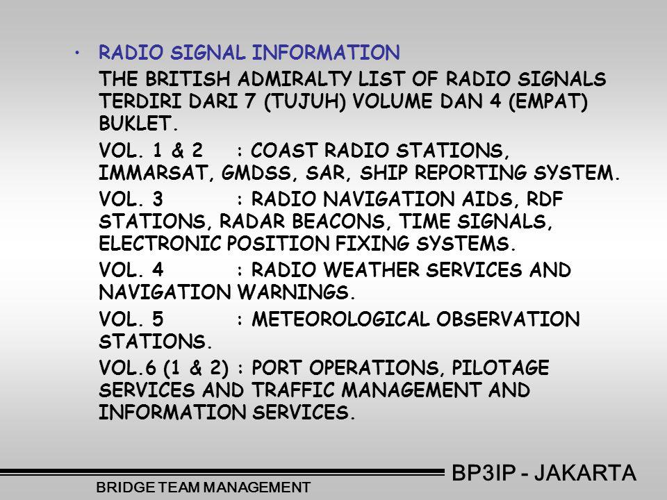 •RADIO SIGNAL INFORMATION THE BRITISH ADMIRALTY LIST OF RADIO SIGNALS TERDIRI DARI 7 (TUJUH) VOLUME DAN 4 (EMPAT) BUKLET.