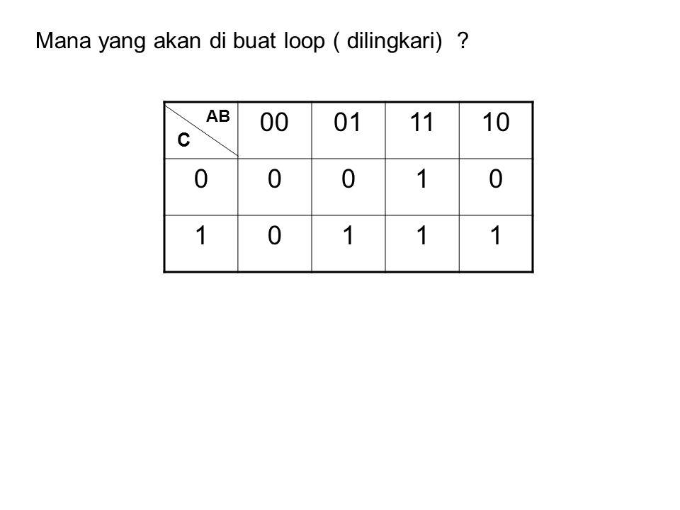 00011110 00010 10111 AB C Mana yang akan di buat loop ( dilingkari) ?
