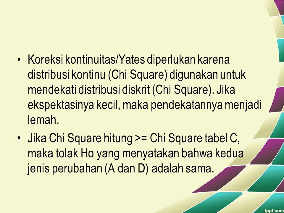 •Koreksi kontinuitas/Yates diperlukan karena distribusi kontinu (Chi Square) digunakan untuk mendekati distribusi diskrit (Chi Square). Jika ekspektas