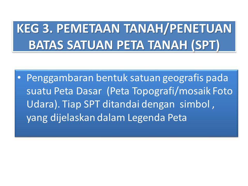 KEG 3. PEMETAAN TANAH/PENETUAN BATAS SATUAN PETA TANAH (SPT) • Penggambaran bentuk satuan geografis pada suatu Peta Dasar (Peta Topografi/mosaik Foto