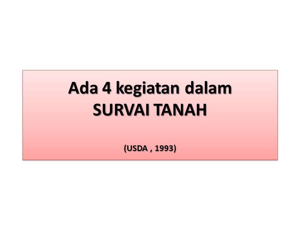 Ada 4 kegiatan dalam SURVAI TANAH (USDA, 1993)