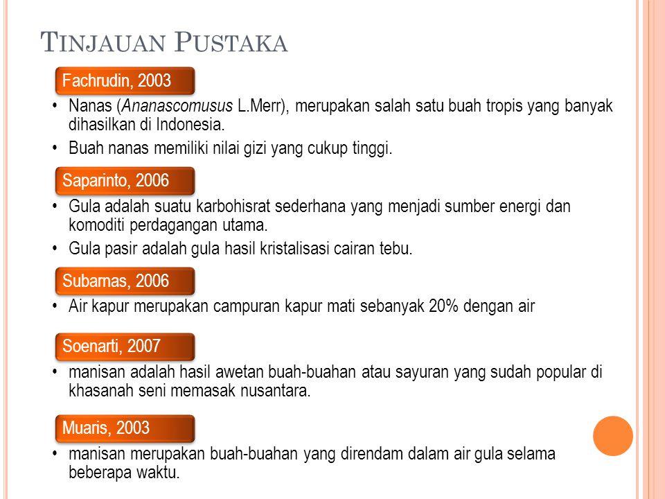 T INJAUAN P USTAKA Fachrudin, 2003 •Nanas ( Ananascomusus L.Merr), merupakan salah satu buah tropis yang banyak dihasilkan di Indonesia. • Buah nanas