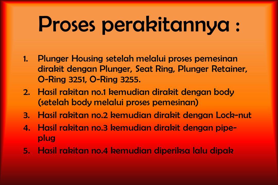 Proses perakitannya : 1.Plunger Housing setelah melalui proses pemesinan dirakit dengan Plunger, Seat Ring, Plunger Retainer, O-Ring 3251, O-Ring 3255.