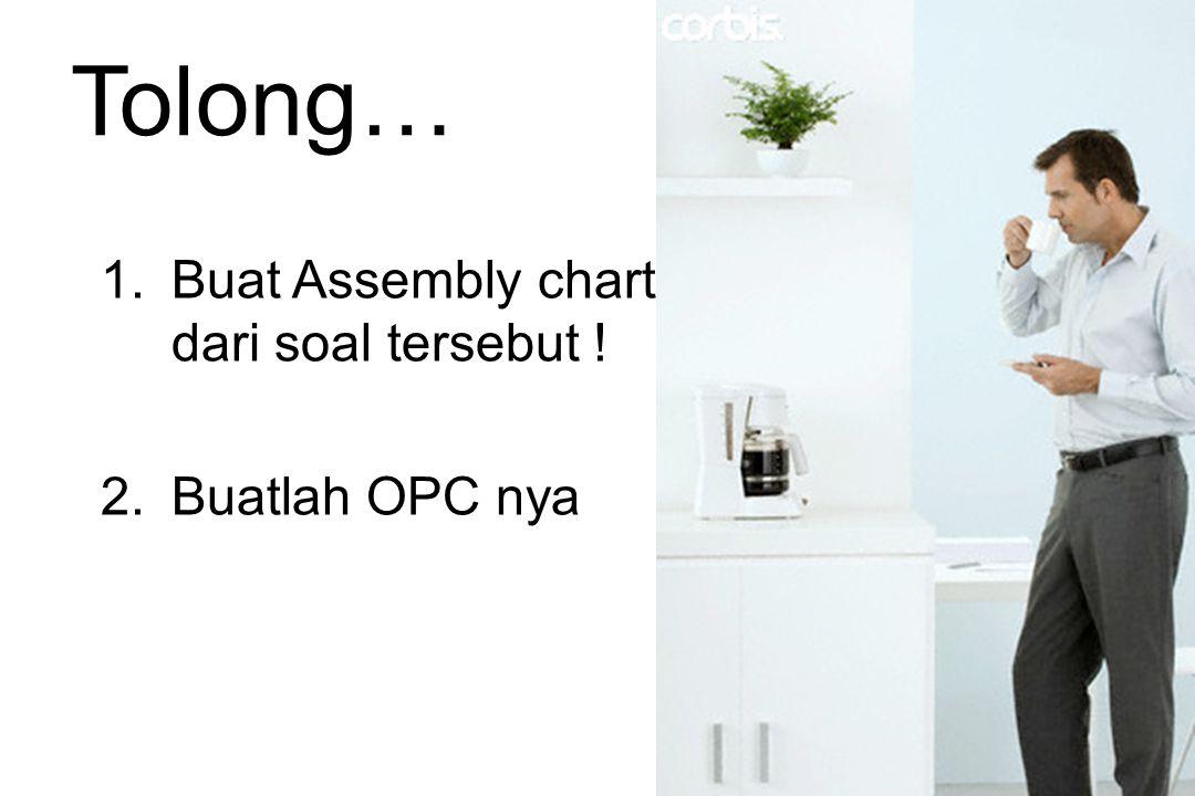 Tolong… 1.Buat Assembly chart dari soal tersebut ! 2.Buatlah OPC nya