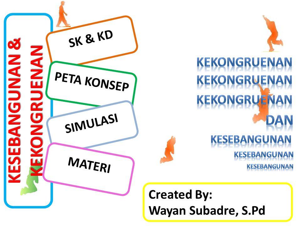 KESEBANGUNAN & KEKONGRUENAN SK & KD PETA KONSEP Created By: Wayan Subadre, S.Pd SIMULASI MATERI