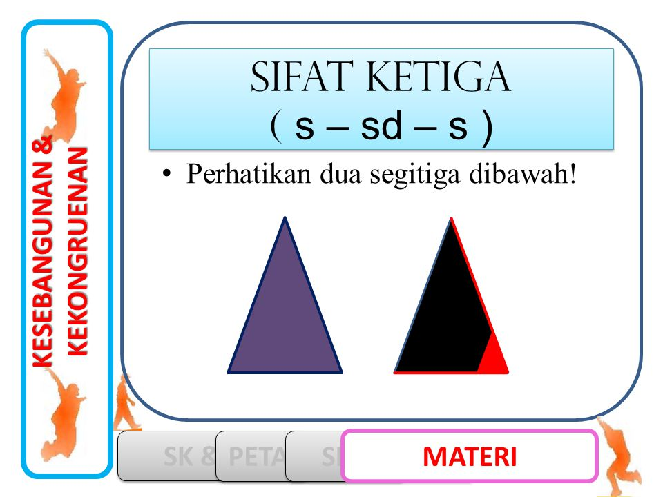 KESEBANGUNAN & KEKONGRUENAN SK & KD PETA KONSEP SIMULASI MATERI •Perhatikan dua segitiga dibawah! SIFAT ketiga ( s – sd – s ) SIFAT ketiga ( s – sd –