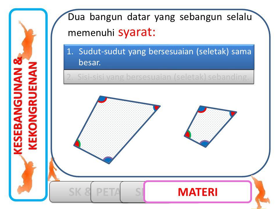 KESEBANGUNAN & KEKONGRUENAN SK & KD PETA KONSEP SIMULASI MATERI 1. Sudut-sudut yang bersesuaian (seletak) sama besar. 2. Sisi-sisi yang bersesuaian (s