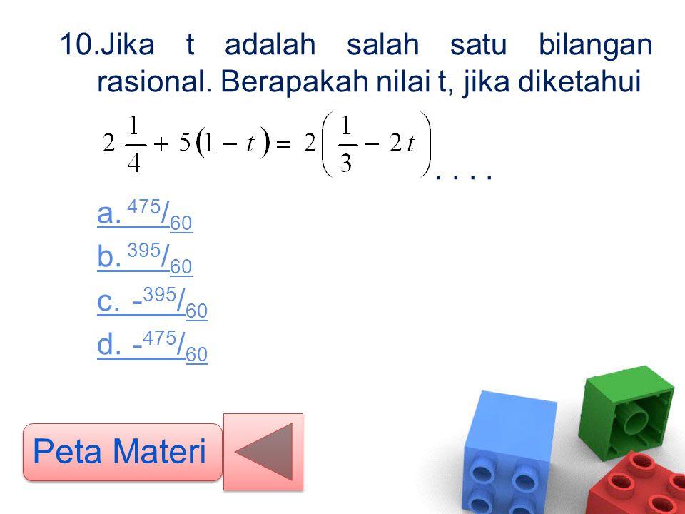 10.Jika t adalah salah satu bilangan rasional. Berapakah nilai t, jika diketahui.... a. 475 / 60 b. 395 / 60 c. - 395 / 60 d. - 475 / 60 Peta Materi